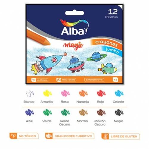 Crayones Alba Magic Kinder X 12 Cortos