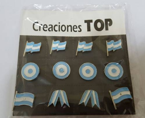 Pins Metalicos Argentina Blister X 12 Unid